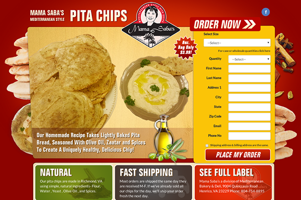 Website Design For Our Client Mama Saba's Mediterranenan Style Pita Chips