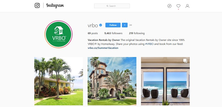 VRBO uses Instagram to show images of homes they want to market.