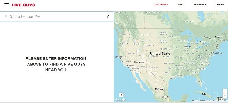 fiveguys.com uses a store locator to find information by city, state, or zip