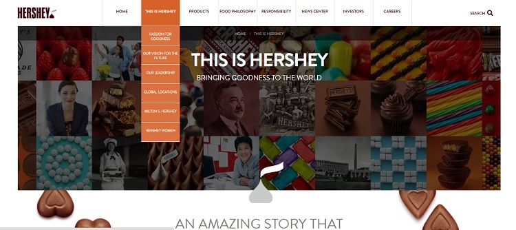 thehersheycompany.com website reflects purpose and history and shows global locations