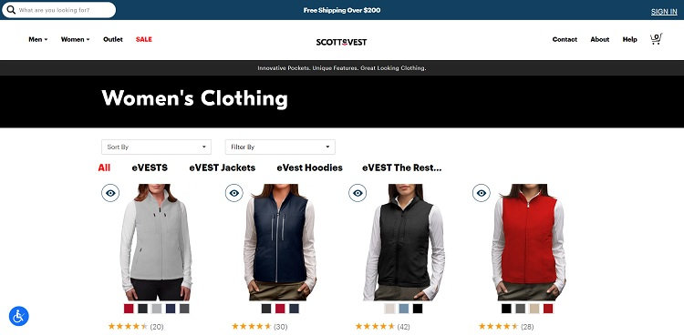 ScotteVest.com offers some high-level options for filtering