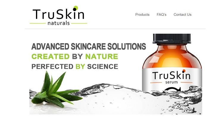 Truskin Naturals add splashes of natural images in a way that highlights their skincare products