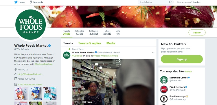 Whole Foods uses Twitter to tell stories about it's healthy foods.