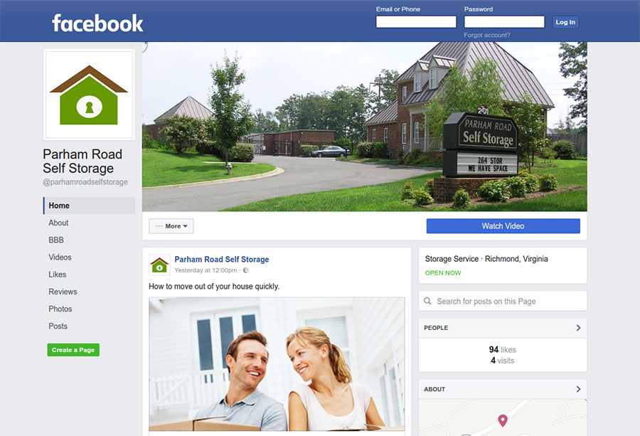 screen capture of Facebook business page